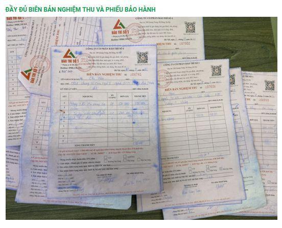 Biên bản nghiệm thu kèm phiếu bảo hành dài hạn cho khách hàng sau khi sửa chữa điều hòa